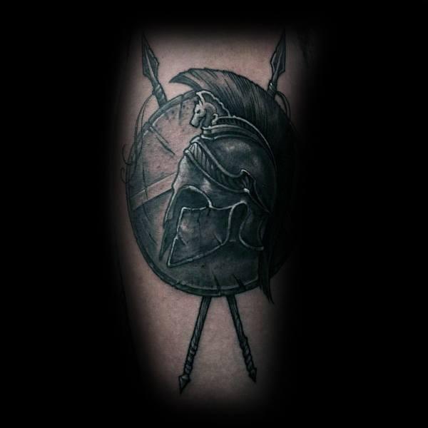 Shield With Spartan Helmet Guys Leg Tattoo