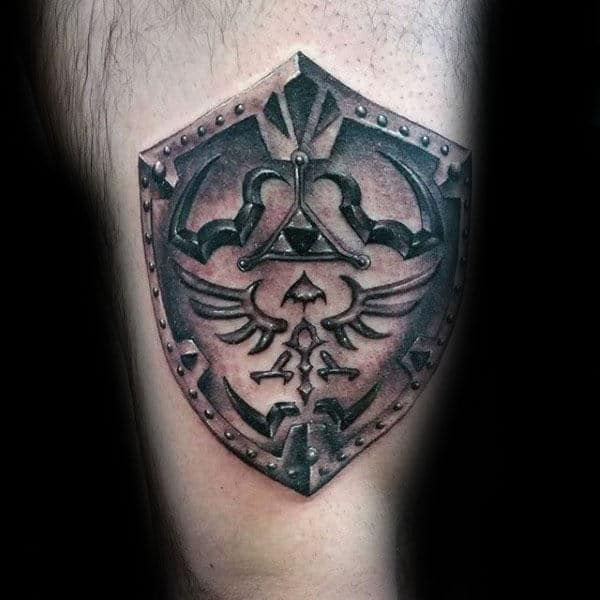 Shield With Triforce Symbol Male Zelda Arm Tattoos