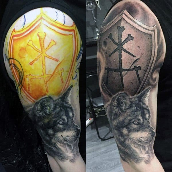 Shield Wolf Arm Tattoo Ideas For Men