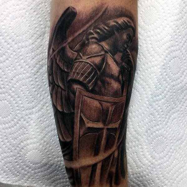 Shielded Guardian Angel In Deep Thought Tattoo On Calves For Men