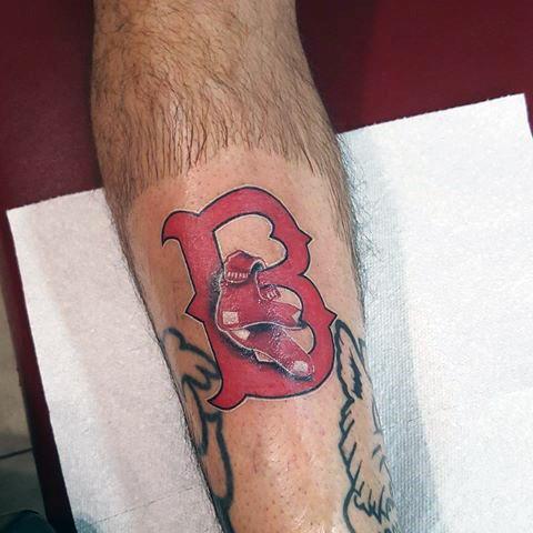 Shin Distinctive Male Boston Red Sox Tattoo Designs