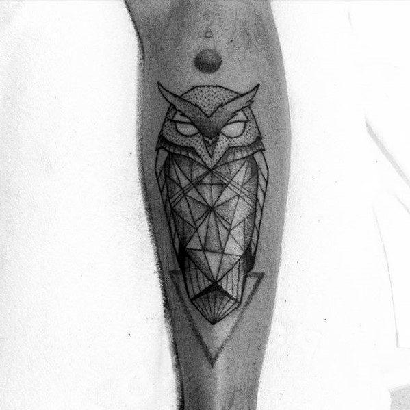 Shin Mens Geometric Owl Tattoo Ideas