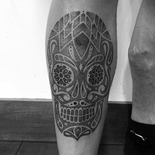 Shin Skull Pointillism Mens Tattoos