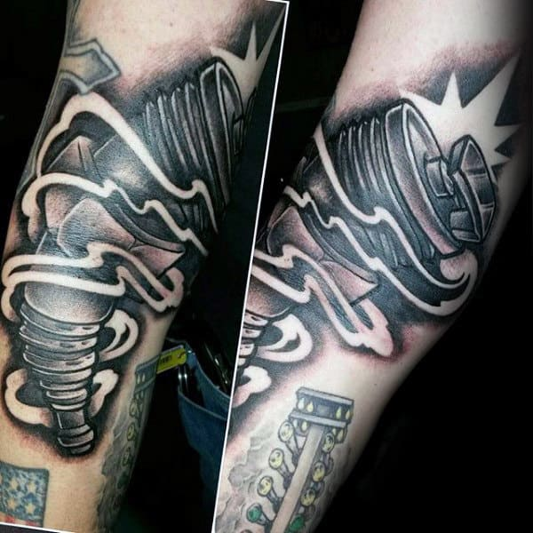 Shining Bright Metal Hot Rod Tattoo Male Forearms