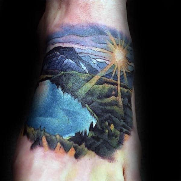 Shining Sun Landscape Foot Tattoos For Men