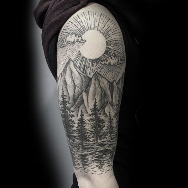 Shining Sun Over Valley Sick Tattoo Male Arms