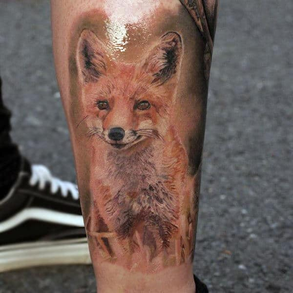 Shiny Black Fox Tattoo Mens Calves