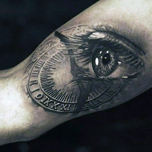 Shiny Eye Merged Into Old Clock Tattoo Mens Arms