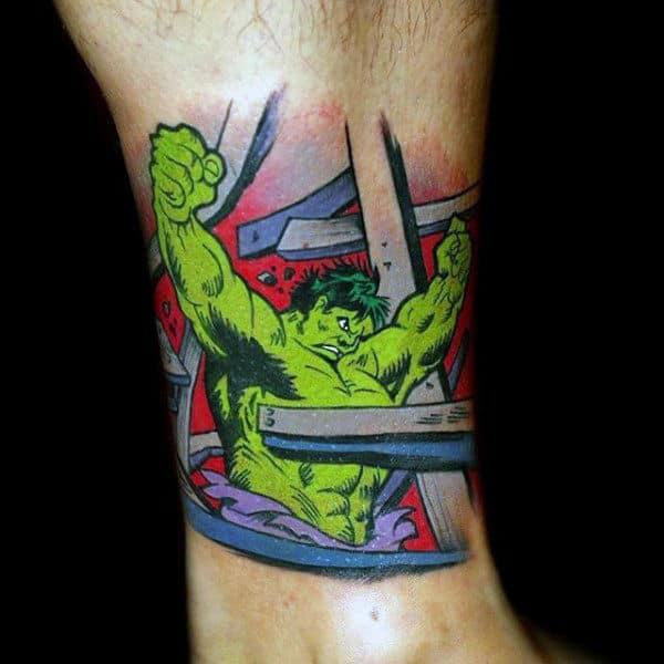 Shiny Green Hulk Tattoo Male Ankles