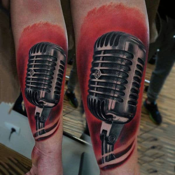 Shiny Microphone Tattoo On Red Background Mens Forearm
