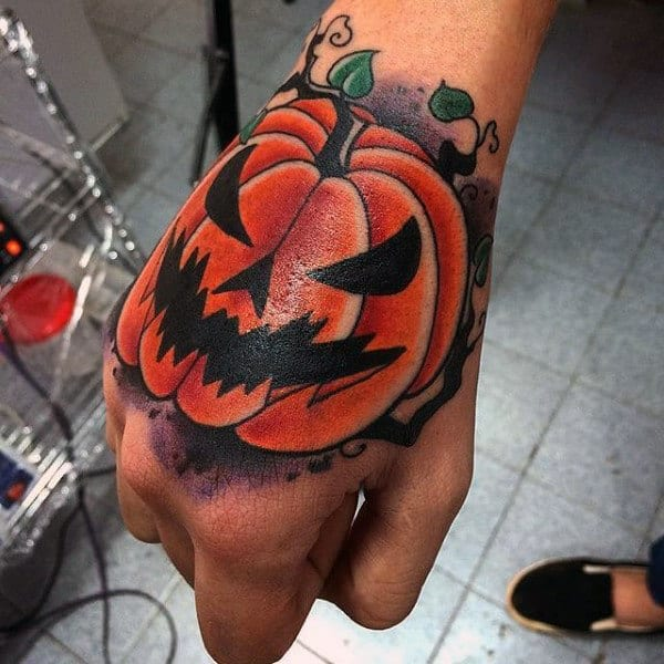 Shiny Orange Pumpkin Halloween Tattoo Male Hands