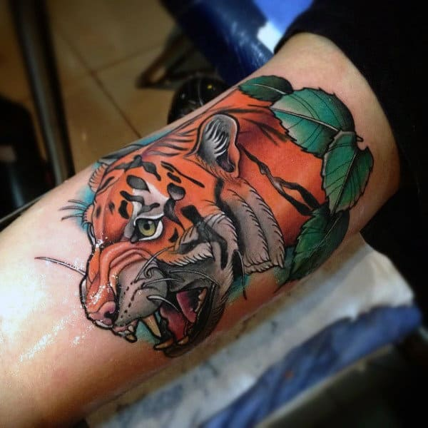 Shiny Orange Tiger Tattoo Mans Inner Biceps