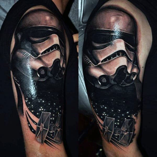 Shiny Star Wars Tattoo Male Arms