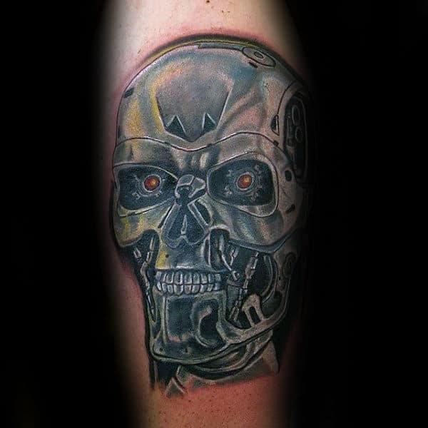 Shiny Terminator Cyborg Guys Arm Tattoos