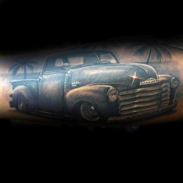 Shiny Vintage Truck On The Beach Tattoo For Guys