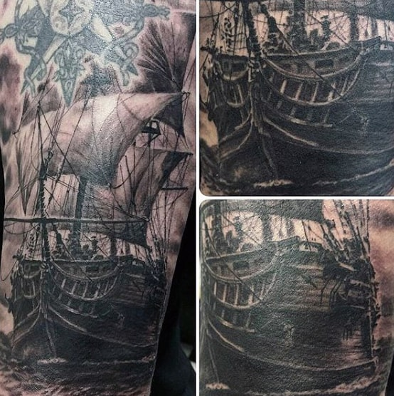 Ship and Anchor Tattoo On Man