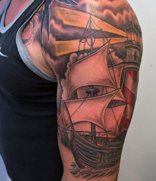 Ship And Lighthouse Tattoo Men