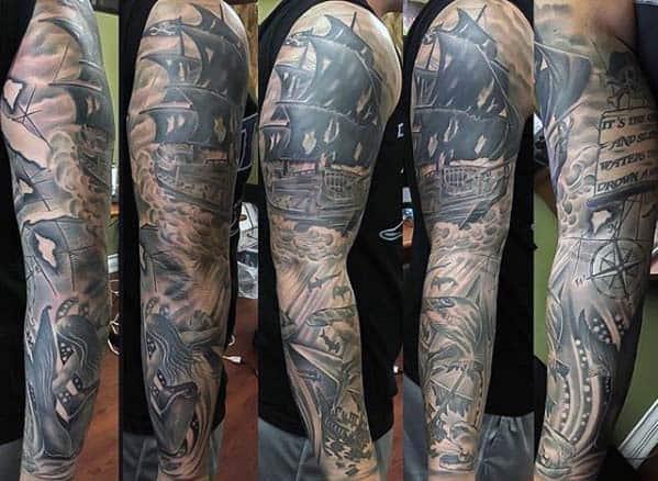 Ship At Sea Nautical Male Full Arm Sleeve Tattoo Ideas
