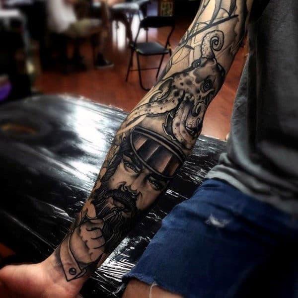 Ship Captian Awesome Mens Sleeve Tattoo Designs