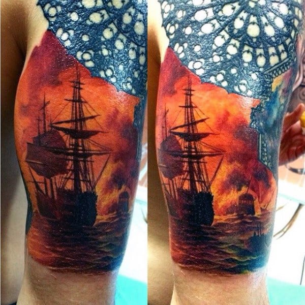 Ship Flames Male Tattoo Sleeve