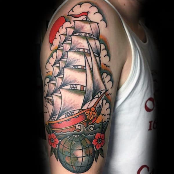 Ship Globe Men Arm Tattoo