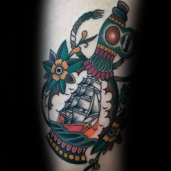 Ship In A Bottle Guys Traditional Forearm Tattoo Designs