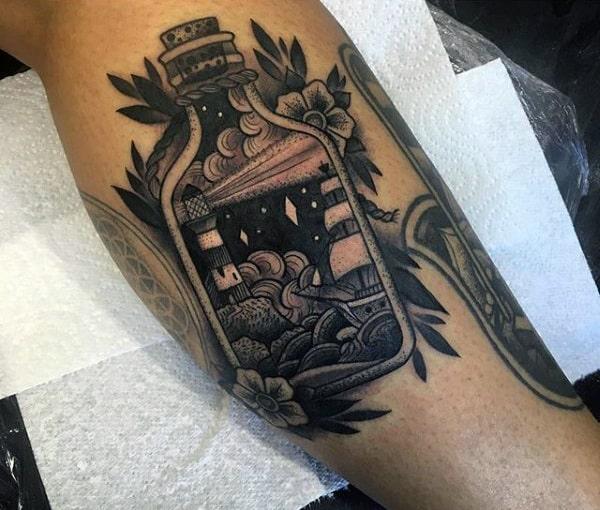 Ship In A Bottle Nautical Mens Leg Calf Tattoos