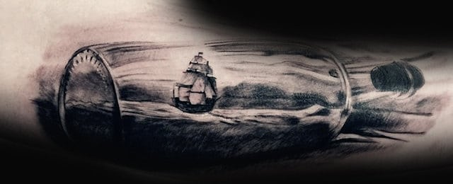 Ship In A Bottle Tattoo Designs For Men