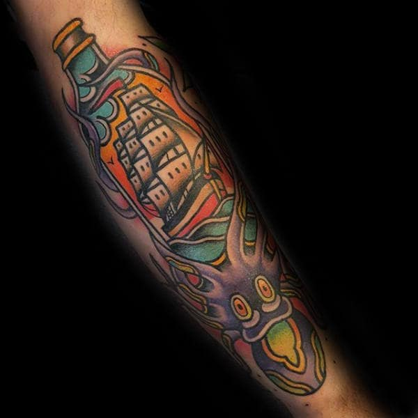 Ship In A Bottle With Octopus Guys Traditional Forearm Tattoos