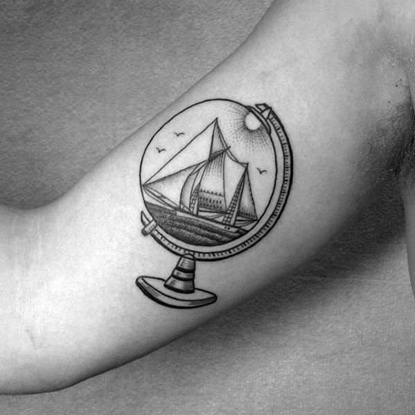 Ship Inside Globe Guys Wanderlust Small Inner Arm Bicep Tattoos