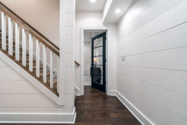 Ship Lap Traditional Staircase Ideas With Wood Railing