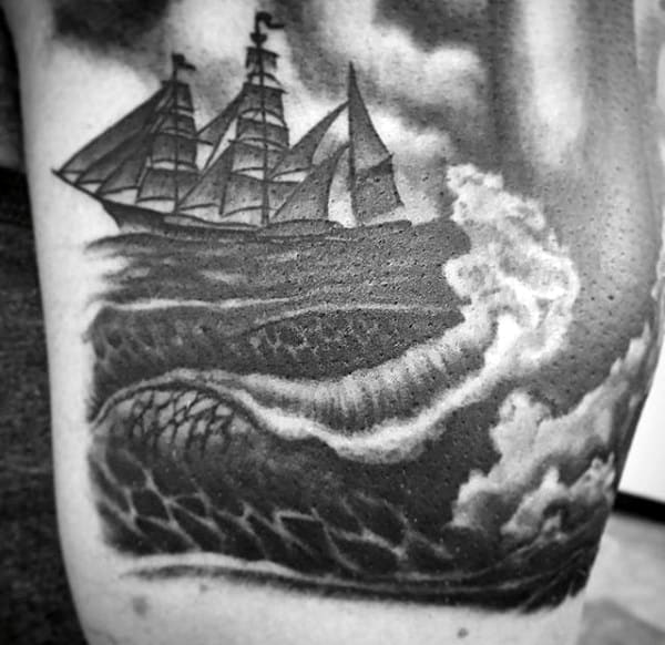Ship Sailing In Waves Tattoo For Males