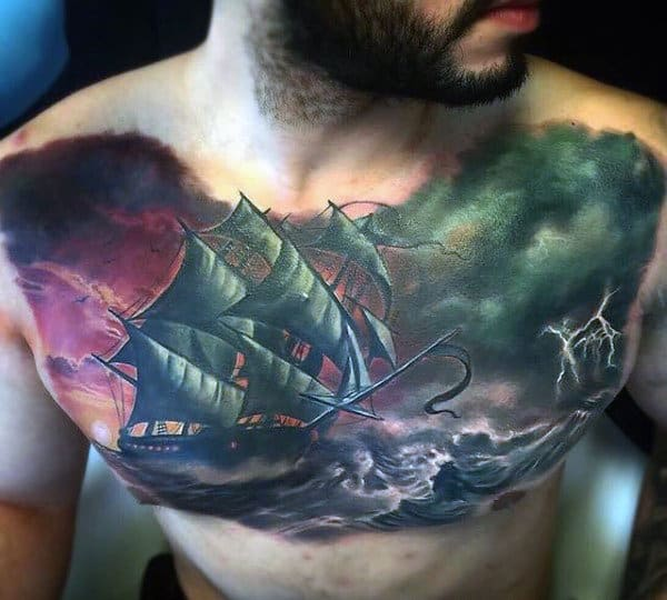 Ship Sailing Through Storm Artistic Male Watercolor Chest Tattoos