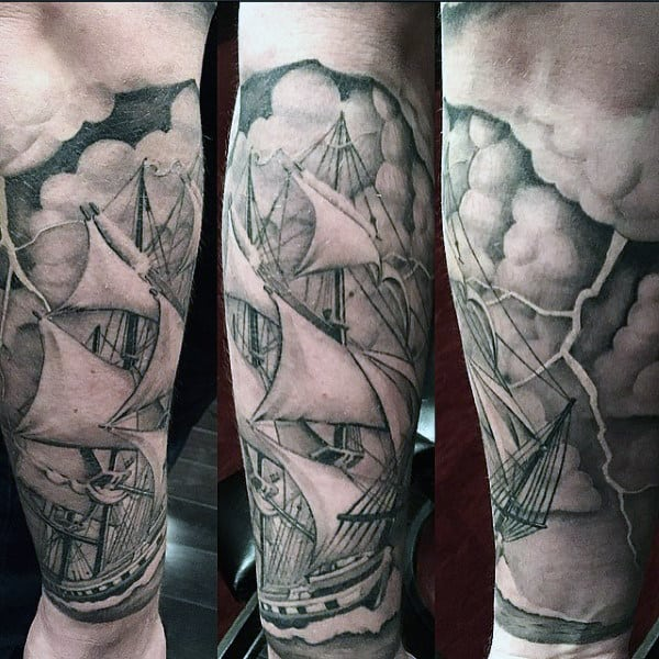 Ship Sailing Through Stormy Weather Nautical Mens Forearm Sleeve Tattoo