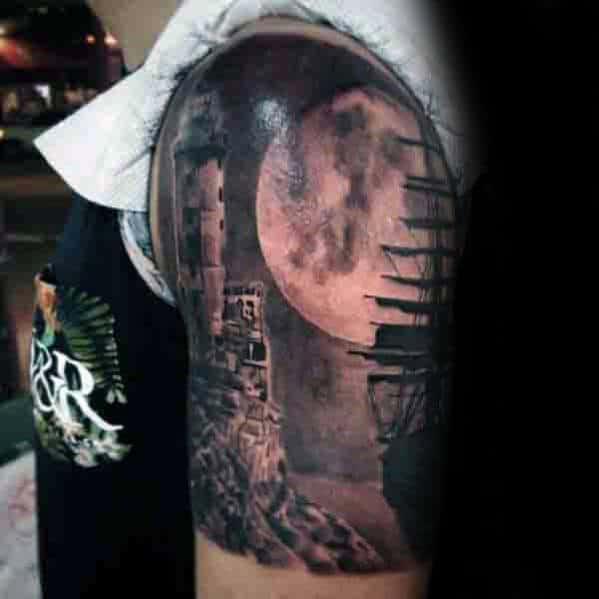 Ship Sailing Under Moon Realistic Quarter Sleeve Tattoos For Men
