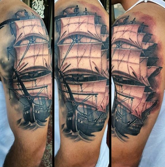 Ship Sleeve Tattoo For Males