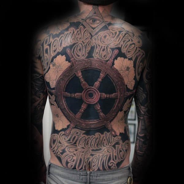 Ship Wheel Creative Mens Back Tattoos