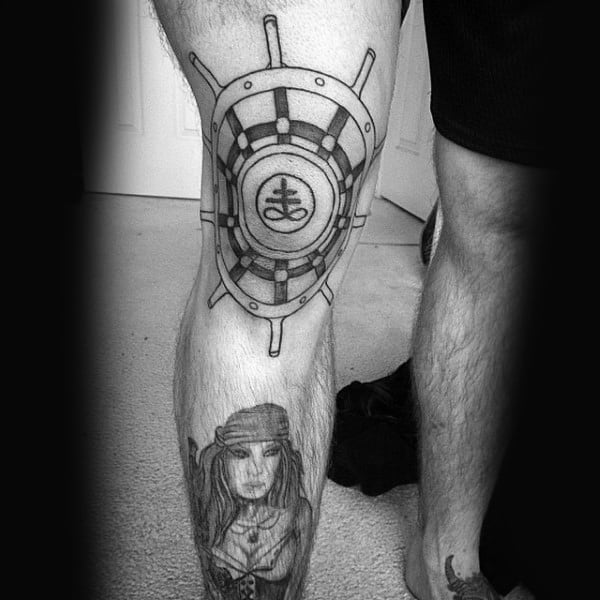 Ship Wheel Mens Outline Black Ink Knee Tattoos