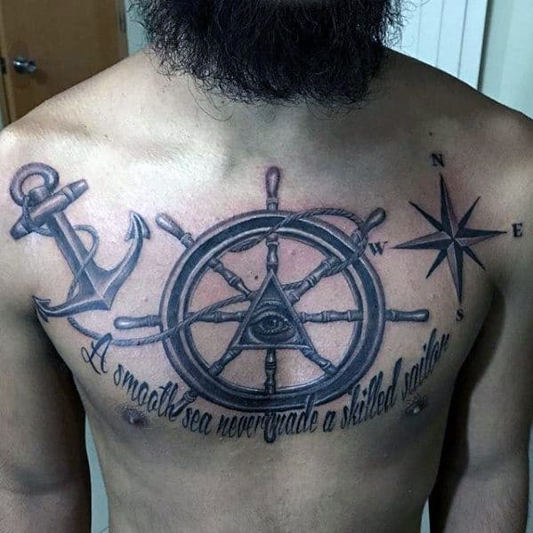 Ship Wheel With Anchor Mens Chest Tattoo