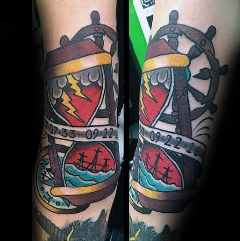 Ship Wheel With Traditional Hourglass Mens Nautical Themed Arm Tattoo