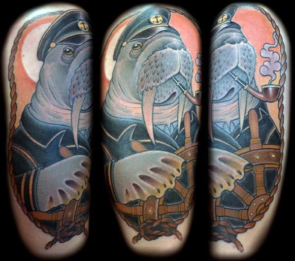 Ship Wheel With Walrus Guys Tattoo Ideas On Arm