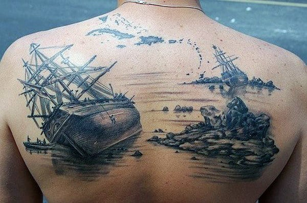 Ship Wreck Mens Realistic Upper Back Tattoo Inspiration