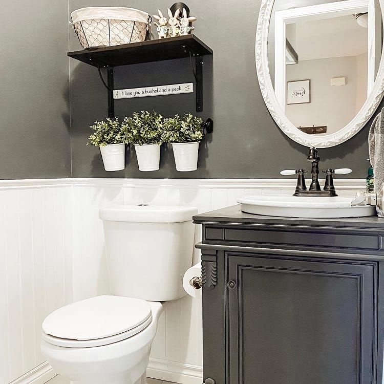 Shiplap Black Farmhouse Bathroom Wainscoting Houseonlotuslane