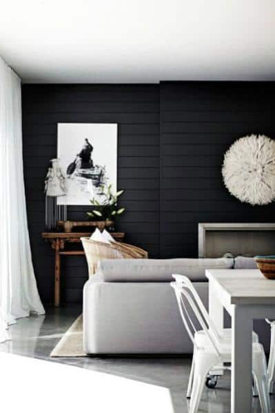 Shiplap Living Room Black Wall Ideas Inspiration