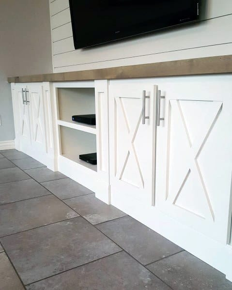 Shiplap Painted White With Cabinets Tv Wall Design Inspiration