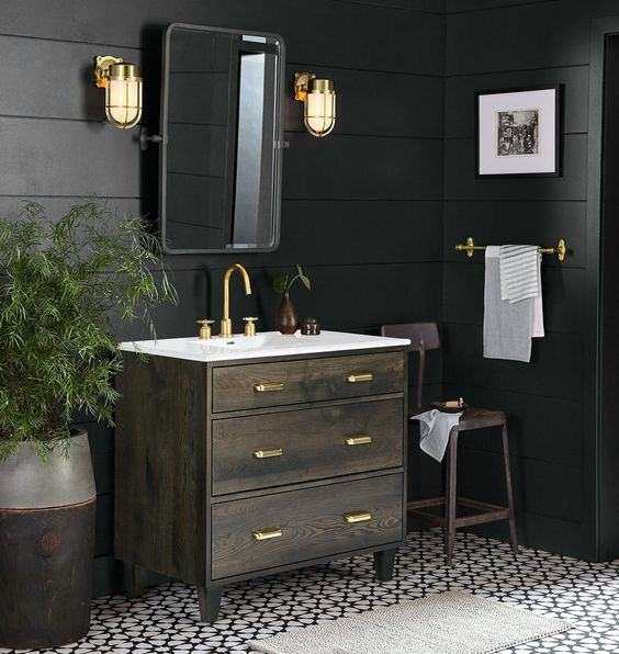 Shiplap Wall Black Bathroom Cool Interior Ideas