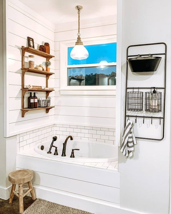 Shiplap Wall Farmhouse Bathroom Decor Heritagehillhomestead