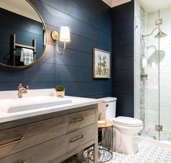 Shiplap Wall Home Ideas Blue Bathroom