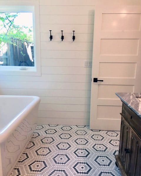 Shiplap Wall White Bathroom Design Idea Inspiration