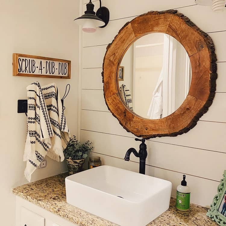 Shiplap Walls Farmhouse Bathroom Vanity Whisperingpines.farmhouse